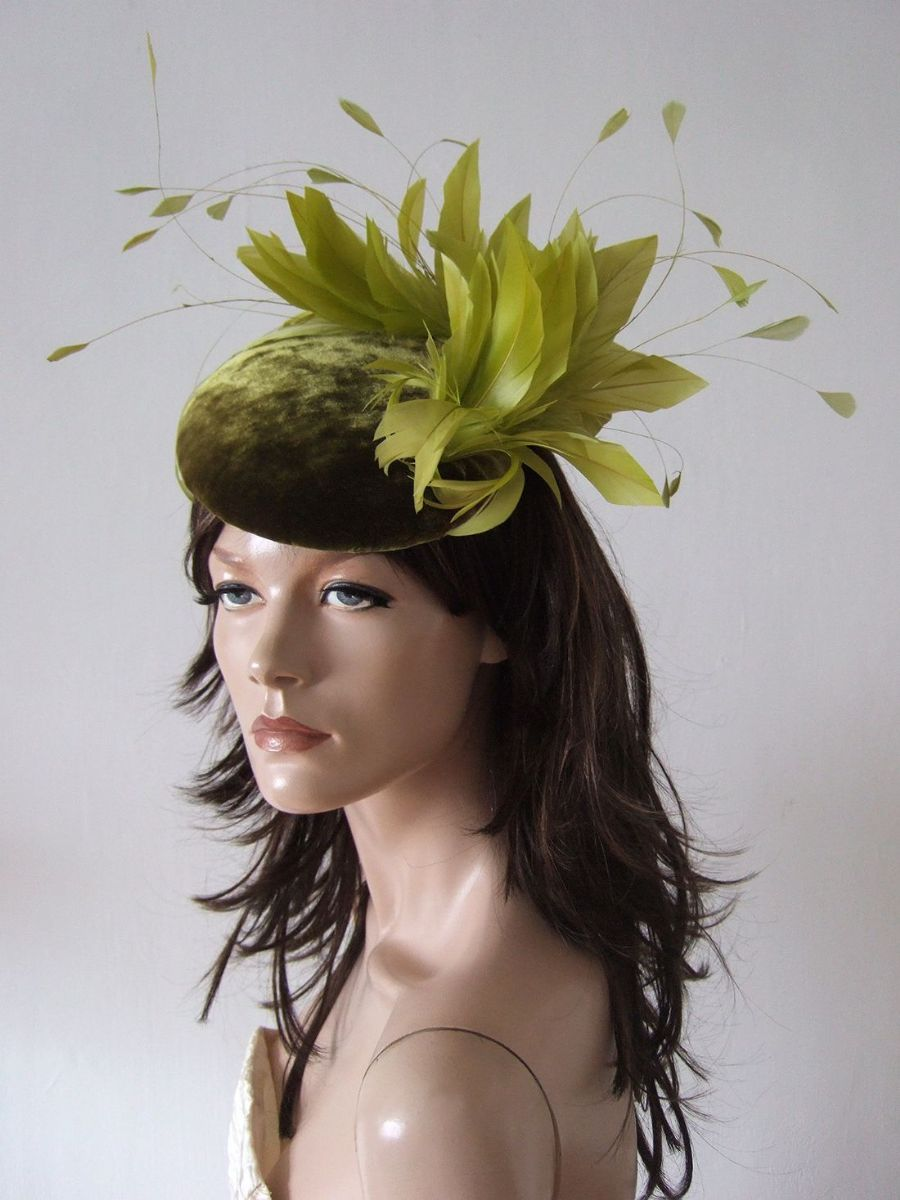 "Olive Green Velvet Fascinator Cocktail Hat Headpiece ""Enya"" for Winter Mother of the Bride outfits, Winter Wedding Guest Hats, What to wear to a Winter Wedding. Olive Green Fascinator. Velvet Hats."